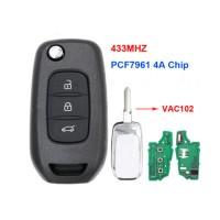 2pcs 3 Button Flip Remote Key 433Mhz PCF7961 4A Chip  for Renault Kadjar Captur Symbol Megane 3 2013 – 2017 VAC102
