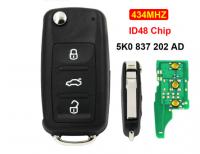 3 Button Folding Flip Remot Key 434MHZ ID48 Chip Uncut Blade 5K0 837 202 AD For VW Passat Tiguan Polo Beetle Golf Jetta