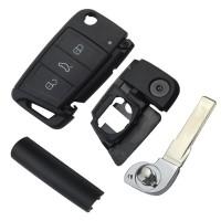 3PCS VW Golf7 3 button remote key shell with HU66 blade