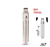 20pcs  #02 Metal Uncut Blank keydiy xhorse Flip Remote Toy43 Key Blade For Toyota Corolla Crown Camry Highlander Corolla Vios
